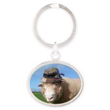 sheep in hat Oval Keychain
