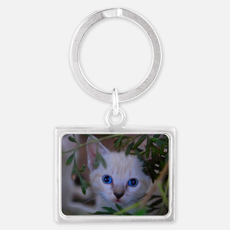 Kitten in the brush Landscape Keychain