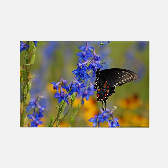 Wildflowers  Butterfly Rectangle Magnet