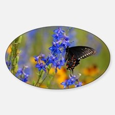 Wildflowers  Butterfly Sticker (Oval)