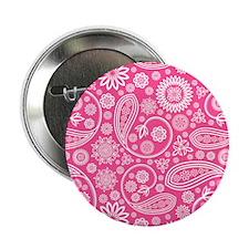"Hot Pink Paisley Pattern 2.25"" Button"