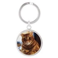 Buggs the Tabby Cat Round Keychain