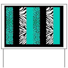 Teal Blue Animal Print Stripes Zebra Leo Yard Sign