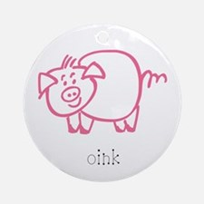 Oink, The Pig Ornament (Round)