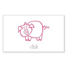 Oink, The Pig Rectangle Decal