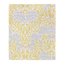 Yellow and Gray Floral Damask Throw Blanket