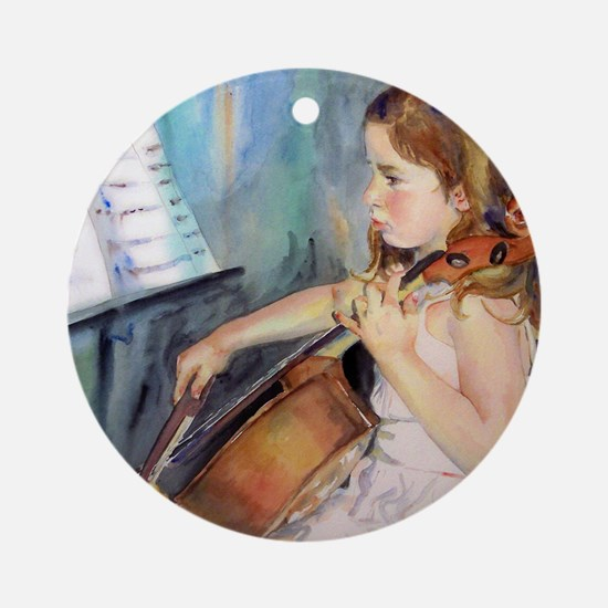 Cellist Girl Round Ornament