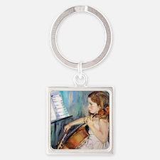 Cellist Girl Square Keychain