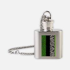 Lime Green Animal Print Stripes Zeb Flask Necklace