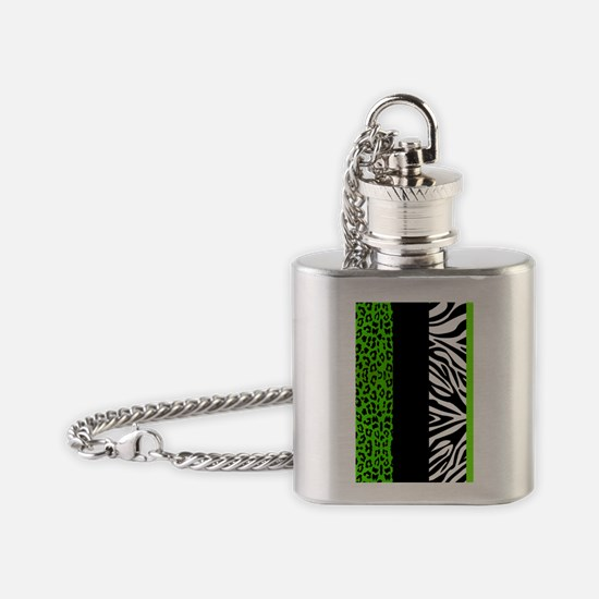 Lime Green Animal Print Stripes Zeb Flask Necklace