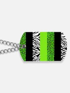Lime Green Animal Print Stripes Zebra Leo Dog Tags