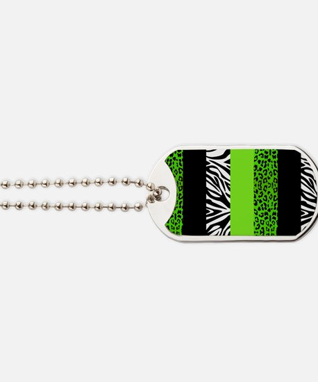 Lime Green Animal Print Stripes Zebra Leo Dog Tags