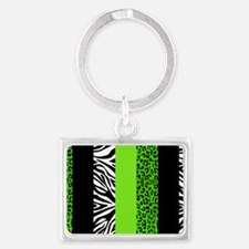 Lime Green Animal Print Stripes Landscape Keychain