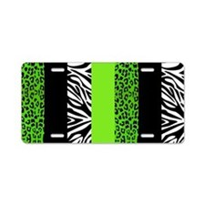 Lime Green Animal Print Str Aluminum License Plate