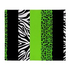 Lime Green Animal Print Stripes Zebr Throw Blanket