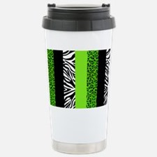 Lime Green Animal Print Stainless Steel Travel Mug