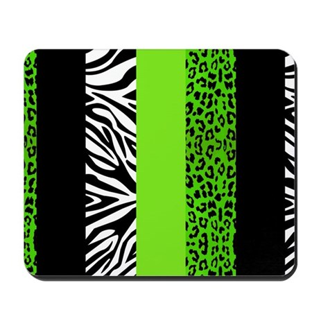 Marvelous Lime Green Animal Print Stripes Zebra Le Mousepad