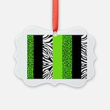 Lime Green Animal Print Stripes Z Ornament