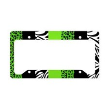Lime Green Animal Print Strip License Plate Holder