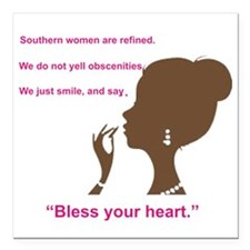 """Bless Your Heart Square Car Magnet 3"""" x 3"""""""