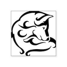 "shy wolf tribal design Square Sticker 3"" x 3"""