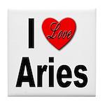 I Love Aries Tile Coaster