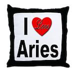 I Love Aries Throw Pillow