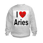 I Love Aries (Front) Kids Sweatshirt