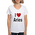 I Love Aries (Front) Women's V-Neck T-Shirt