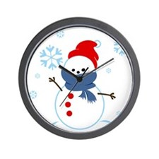 cute snowman with scarf and hat Wall Clock