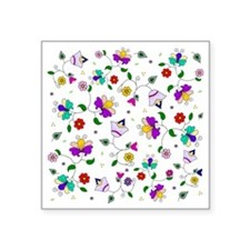 """Purple swirling flowers and Square Sticker 3"""" x 3"""""""