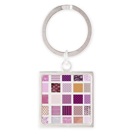Pink squares pattern Square Keychain
