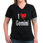 I Love Gemini (Front) Women's V-Neck Dark T-Shirt