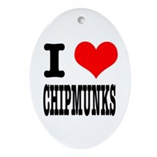 I Heart (Love) Chimpunks Oval Ornament