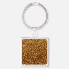 Faux gold glitter Square Keychain