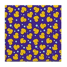 Purple rubber ducky pattern Tile Coaster