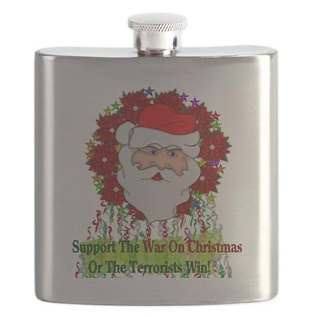 War On Christmas Santa Flask