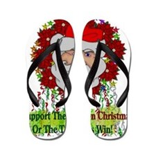 War On Christmas Santa Flip Flops