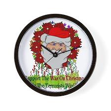 War On Christmas Santa Wall Clock