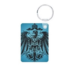 Eagle Crest on Blue Aluminum Photo Keychain