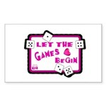 Let The Games Begin Bunco/Dice Sticker (Rectangula