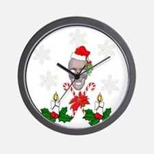 Happy Holidays Christmas Skull Wall Clock