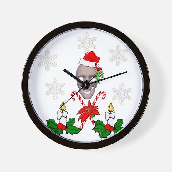 Happy Holidays Christmas Skull Wall Clock