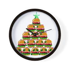 Hamburger Christmas Tree Wall Clock