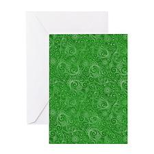 Green Swirling Paisley Pattern Greeting Card