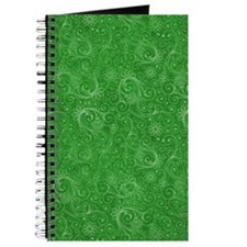 Green Swirling Paisley Pattern Journal