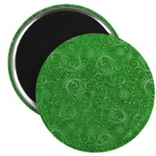 Green Swirling Paisley Pattern Magnet