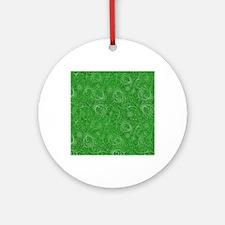 Green Swirling Paisley Pattern Round Ornament