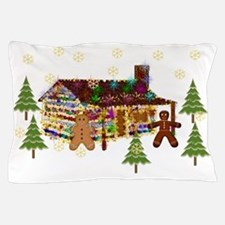 Gingerbread Sparkly Cabin Pillow Case