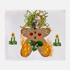 Flaming Wormy Gingerbread Throw Blanket